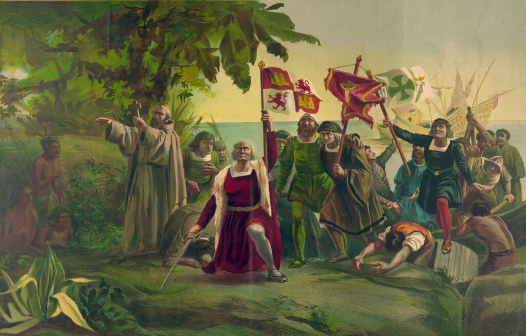 In a painting by Dioscoro Puebla, Christopher Columbus is shown arriving in the New World — the West Indies — on Oct. 12, 1492. (Wikimedia Commons)